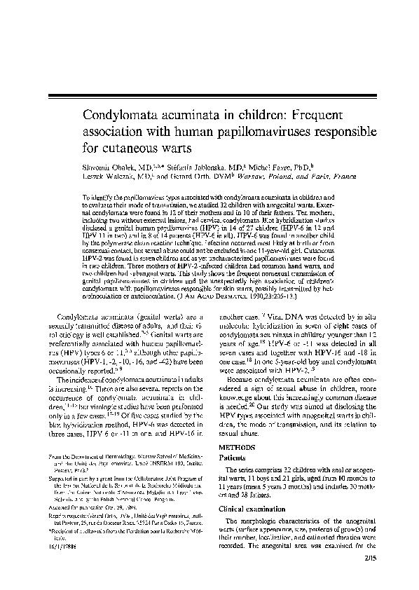 Condyloma acuminata in infant