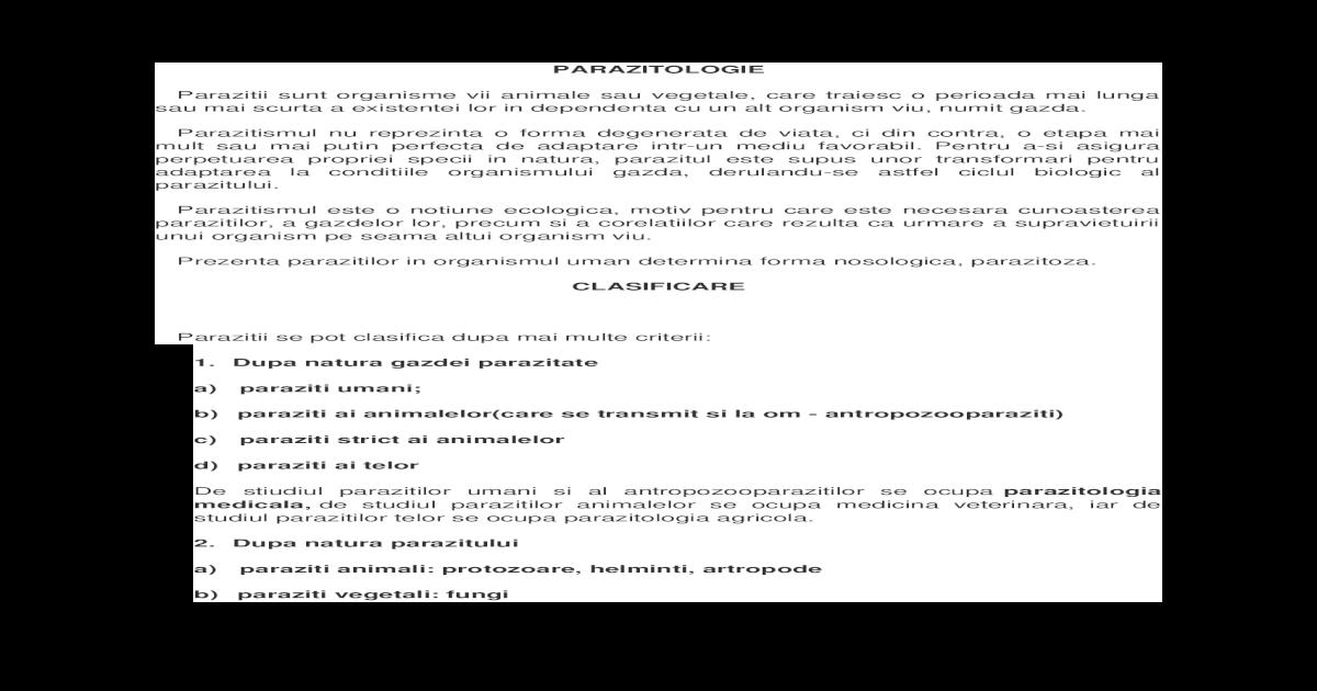 Parazitologie - Note de curs