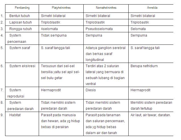 nemathelminthes kelas perbedaan)