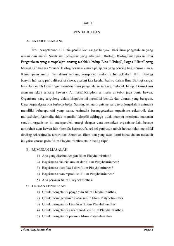 laporan filum platyhelminthes